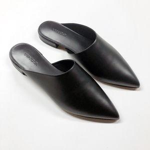 VINCE Danna Black Leather Slide On Mules Flats